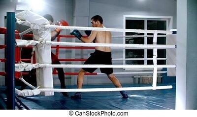 boîte anneau, gants, chaque, formation, boxeurs, autre, -, hommes