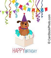 boîte, anniversaire, chiot, carte, heureux