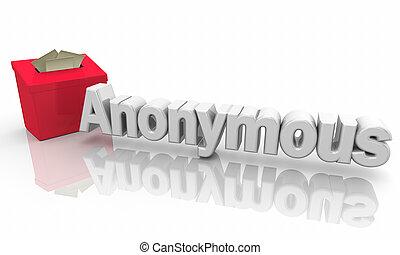 boîte, anonyme, soumission, illustration, suggestion, 3d, réaction