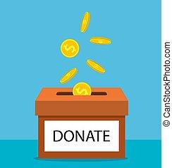 boîte, argent, donner