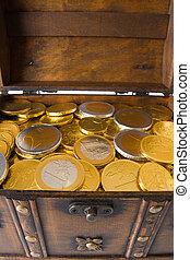 boîte, argent, entiers, ouvert