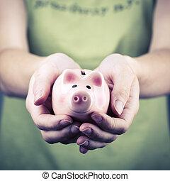 boîte, argent, femme, cochon, main