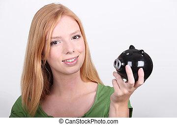 boîte, argent, femme, jeune, portrait