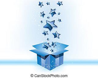 boîte, arrière-plan bleu, cadeau, étoiles, blanc