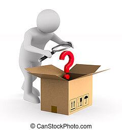boîte, arrière-plan., cargaison, homme, isolé, ouvert, blanc...