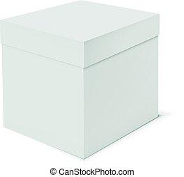 boîte, arrière-plan., gabarit, vide, blanc, carton