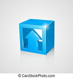 boîte, arrow., bleu