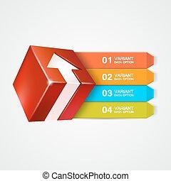 boîte, arrow., concept., vecteur, infographics