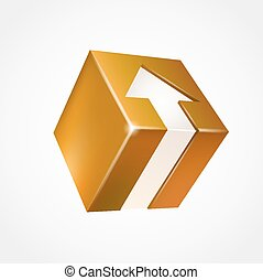 boîte, arrow., tridimensionnel