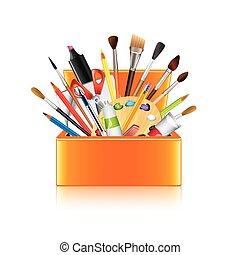 boîte, art, isolé, vecteur, fournitures, blanc
