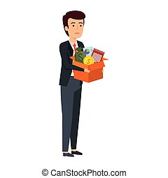 boîte, articles, jeune, business, homme affaires