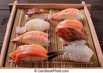 boîte, assorti, loin, sushi, bois, prendre, plateau