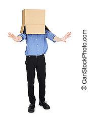 boîte, aveuglé, homme