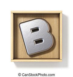 boîte, b, bois, métal, lettre, argent, 3d