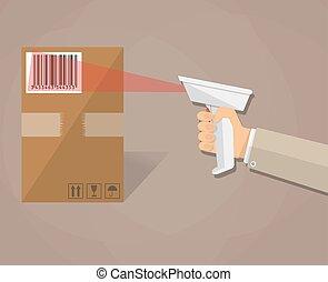 boîte, balayage, barcode, main