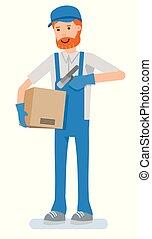 boîte, balayage, box., vérification, barcode, ouvrier, entrepôt, travail, scanner.