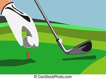 boîte, balle, club golf, tee, main