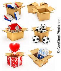 boîte, balles, coeur, maison, livres, fenêtre, nouveau