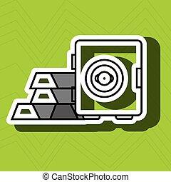 boîte, barres, or, sûr, isolé, conception, icône