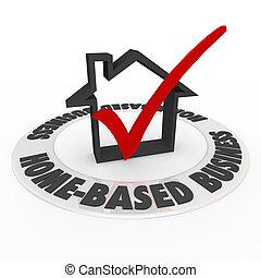 boîte, basé, business, maison, marque, maison, chèque, icône