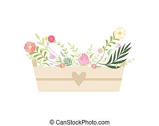 boîte, beau, entiers, bois, illustration, vecteur, fleurs