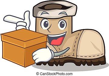 boîte, beau, fonctionnement, botte, forme, dessin animé