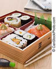 boîte, bento, loin, sushi, sashimi, prendre