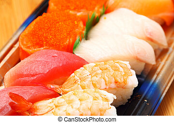 boîte, bento, sushi, haut fin
