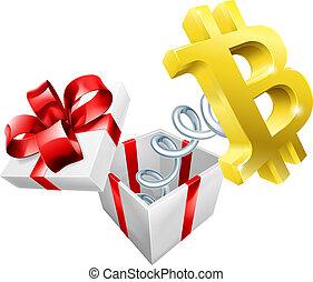 boîte, bitcoin, cric, signe