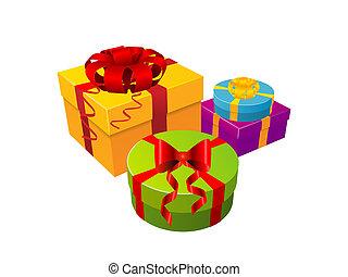 boîte, blanc, cadeau, fond
