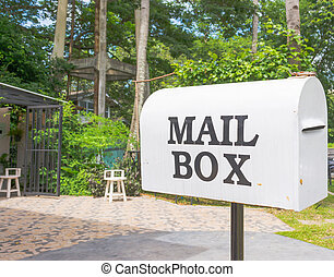 boîte, blanc, courrier