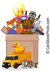 boîte, blanc, entiers, fond, jouets
