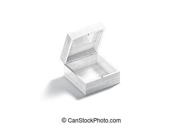 boîte, blanc, mockup, vide, cadeau, bois, vue, ouvert, côté
