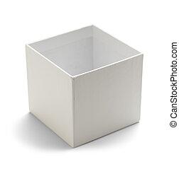 boîte, blanc, ouvert