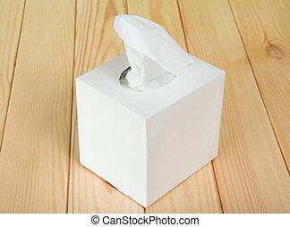 boîte, blanc, serviettes