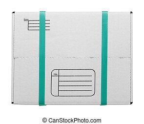boîte, blanc, straps