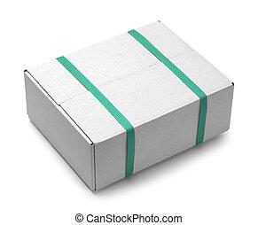 boîte, blanc, straps, vert