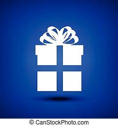 boîte, bleu, blanc, cadeau