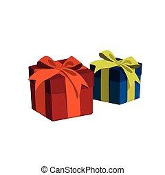 boîte, bleu, cadeau, isolé, style., fond, blanc, dessin animé, rouges