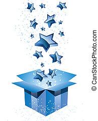 boîte, bleu, cadeau, stars.