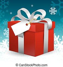 boîte, bleu, hiver, cadeau, snowflakes., decoration., étiquette, ruban, argent, papier, vecteur, arrière-plan rouge, noël, vide