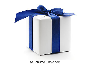 boîte, bleu, ruban blanc, cadeau