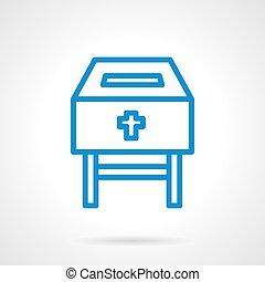 boîte, bleu, vecteur, ligne, charité, icône