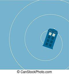 boîte, bleu, vecteur, police, voler, britannique, fond, illustration, éclairant