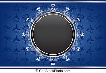boîte bleue, balle, noir, argent
