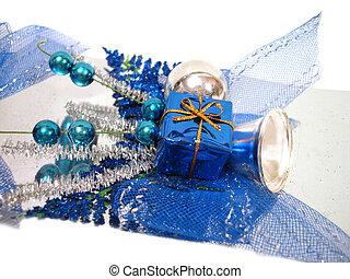 boîte bleue, balles, décoration, handbell, noël
