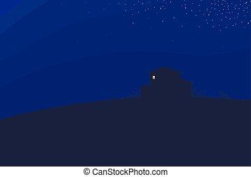 boîte bleue, branches, lumière, ciel nuit, illustration, rectangulaire, sombre, clair, vecteur, colline, contour, maison, buissons, paysage