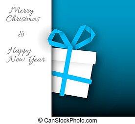 boîte bleue, cadeau, simple, vecteur, noël carte