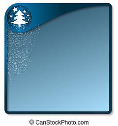 boîte bleue, motif, noël, texte