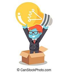 boîte bleue, pensée, dehors, ampoule, homme affaires